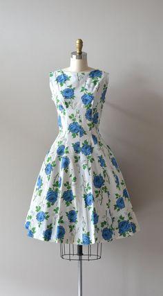 Vintage 50s dress blue roses - DearGolden, $138.00