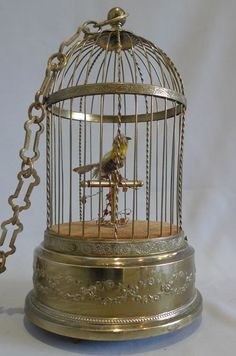 French single bird singing bird cage by Bontems of Paris