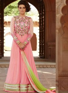 Shine like a diva dressed in this pink color embroidered net long Anarkali churidar suit. The ethnic lace, stones and resham work for suit adds a sign of magnificence statement with your look. Anarkali Churidar, Long Anarkali, Anarkali Dress, Anarkali Suits, Salwar Kameez, Churidar Suits, Pakistani Suits, Lehenga Choli, Kurti