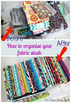 Fabric envy! How to fold and organize your fabric stash. Makes things so much easier to find and match.