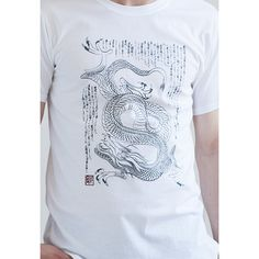 JAPANESE RYUUJIN DRAGON GOD MEN'S ・WOMEN'S ・UNISEX T SHIRT A design inspired by traditional woodblock art of Japan. A brush stroked drawing of Ryūjin, the Dragon god, with calligraphy of Urashima Monogatari on the background. Lightly distressed to give it the aged look. Printed in grey ink with enji red hanko stamp. 日本の伝統的な芸術からインスピレーションを貰いましたデザイン。「浦島物語」を背景にして竜神の絵。ちょっぴりユーズド加工 プリントのtシャツ。 Screen printed in England on Superior Pre-Shrunk 100% cotton T Shirt. Model wears a size Medium and...