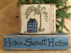 Primitive Country Saltbox House Home Sweet Home Shelf Sitter Wood Block Set #PrimtiveCountry