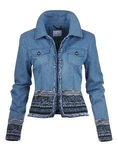 Madeleine Jeans jacket light denim blue print ethno look spijkerjasje jack print borduursels licht denim blauw