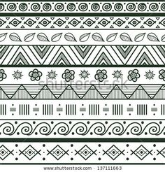 Tribal striped hand drawn seamless pattern. Geometric black-white background. Swatches of seamless pattern included in the file. by Vodoleyk...