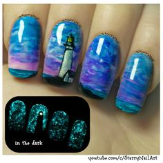 Lighthouse ⎮ Glow in the Dark Freehand Nail Art Tutorial