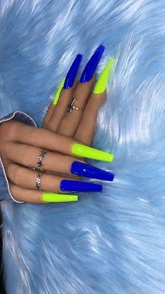 Neon Blue Nails, Acrylic Nails Yellow, Bright Summer Acrylic Nails, Blue Coffin Nails, Acrylic Nails Coffin Short, Cute Acrylic Nails, Summer Nails, Neon Nail Designs, Cute Acrylic Nail Designs