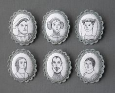 embroidered portrait brooches with crochet trim: these are fabulous! This set based on Renaissance portraits. Textile Jewelry, Fabric Jewelry, Textile Art, Jewellery, Enamel Jewelry, Embroidery Stitches, Embroidery Patterns, Hand Embroidery, Portrait Embroidery