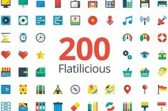 Flatilicious 200 icons by Pixel Bazaar on @creativemarket