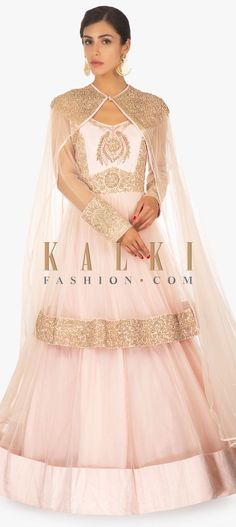 7846750c6d0 ... Shipping over US 100) Click Anywhere to Tag Powder-pink-net-satin-gown -enhanced-with-a-additional-net-over-jacket-in-embroidered-yoke-only-on- kalki