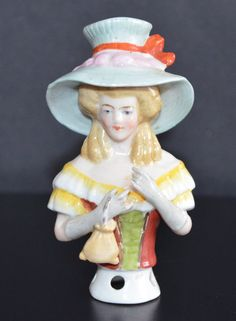 Half Doll Large Porcelain Pin Cushion Girl with Purse & Hat