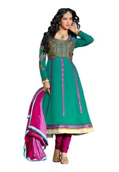 Fabdeal Women's Indian Designer Wear Embroidered Salwar Sea Green - http://www.desitoga.com/salwar/fabdeal-womens-indian-designer-wear-embroidered-salwar-sea-green/