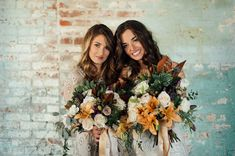 Bridesmaids in BHLDN with woodsy bouquets