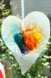 stained glass with crayons.  wax paper, crayon shavings, iron..  make your own style, fun to do