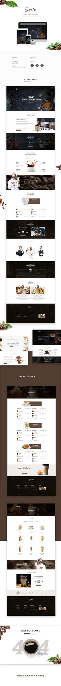 Gamba - Coffee & Drink PSD Template - Restaurants & Cafes EntertainmentScreenshots Share Facebook Google Plus Twitter PinterestAdd to FavoritesAdd to CollectionGamba is a powerful, modern and creative PSD template, designed for food, bakery, cafe, pu…