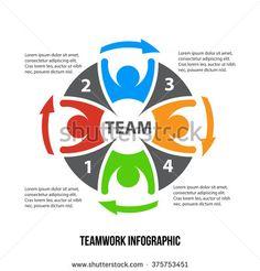 Teamwork Infographic 4 process. Business management. Vector design