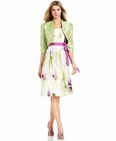 R&M Richards Sleeveless Floral-Print Belted Dress and Jacket - Sale & Clearance - Women - Macy's