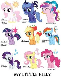 my little filly, except Cadence should be just a Pegasus....and they got everyponys mane on the bottom row WRONG