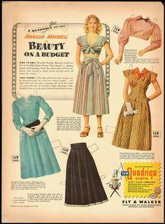 Quadriga Cloth ad from 1948 - starring Marilyn Maxwell in Beauty on a Budget: vintage fashions on paper dolls