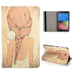 Samsung Galaxy tab 4 (8.0) Flip hoesje, cover, case Girl with cat