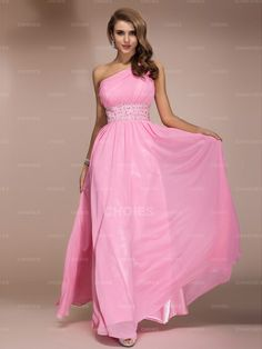 Sheath One Shoulder Beaded Floor-length Pink Chiffon Prom/Evening Dress - Choies.com