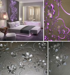 Faux Leather Laser Cut Floral Shapes & Glass Beads LED Headboard.   <3 <3