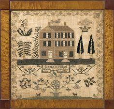 Burlington Co., NJ, dated 1836. Sampler by Keziah A. Hilliard