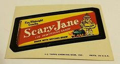 Vintage-1974-Topps-Wacky-Packages-Sticker-Scary-Jane-the-Bewitching-Candy