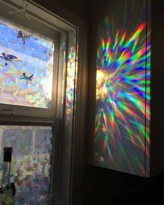 Decorative Window Film Holographic Film 24 X 36 Panel Cracked Ice Pattern is part of Window decor How to Apply Our Decorative Window Film Fill Your House with Rainbow Light X 36 Pan - My New Room, My Room, Holographic Film, Hologram, Rainbow Light, Rainbow Glass, Rainbow Aesthetic, Aesthetic Room Decor, Room Goals
