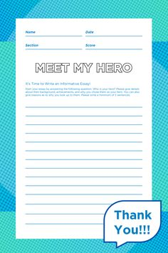 """Let your teacher(s) know that they're your hero with this """"Meet My Hero"""" essay template presented by SchoolMint for Teacher Appreciation Week! #TeacherAppreciationWeek #SchoolMint #K12Classroom #K12Education #Activity #EssayWriting #ThankaTeacher #ThankaSUPERTeacher #acknowledgemints My Hero Essay, Student Enrollment, Informative Essay, Essay Template, Teacher Appreciation Week, Activity Sheets, Your Teacher, Classroom Activities, Essay Writing"""
