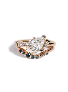 Custom Curved Gemstone Band and Custom Heirloom Cluster Ring