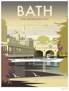 East Urban Home A stunning design of Bath, Somerset by talented artist, Dave Thompson. Thompson's art revisits a classic era of poster design, taking many elements of popular travel art, while remaining current and vibrant. Posters Uk, Railway Posters, Art Deco Posters, Illustrations And Posters, Old Poster, Poster Retro, Poster Ads, British Travel, Tourism Poster