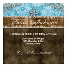 couple shower invitations western theme   Quinceanera Vintage Photo Card Star Blue >> Wedding Invitations