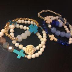 Rose and Cross Bracelets