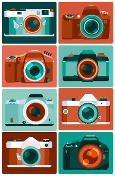"""A Camera Collector's Camera Collection. My father is a camera collector, and these are the few cameras that are significant in his life. Here, I illustrated: my dad's """"baby"""", his recent digital. Photography Camera, Love Photography, Poster Photography, Graphic Design Illustration, Illustration Art, Camera Art, Toy Camera, Film Camera, Digital Camera"""