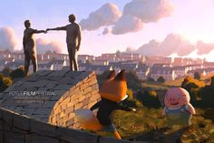 Pig and Fox celebrate in Northern Ireland at the Foyle Film Festival! The Dam Keeper will play as part of their Light in Motion Shorts program on Sunday 23rd at 12:30p. If you are in the area go support this festival!!!  Link: http://www.foylefilmfestival.org/content/light-motion-awards-short-animation-programme-2  This announcement painted by HIRO!!! http://tonkichi0526.blogspot.com/