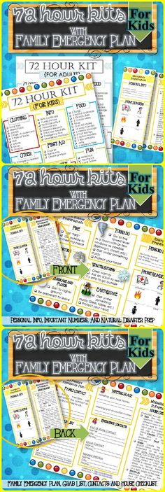 "A simple way to help children and your family be ready for an emergency or natural disaster. Includes, 72 Hour Kit for Children/Babies and adults and a Family Emergency/Natural Disaster Preparedness Brochure for Personal Info, Important Phone Numbers (Police, Fire, etc.), Family Emergency Plan (Contacts, Where to Meet, etc.), ""Before We Leave"" Grab List, House Checklist (How to Shut off Gas, Water, etc.), What to Do in a Natural Disaster (Fire, Tornado, etc.)."