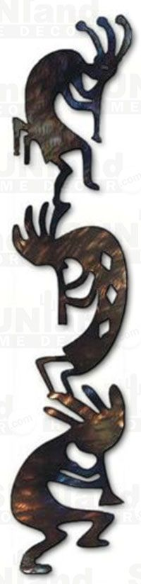 Vertical Metal Wall Art kokopelli metal wall hanging, rust with accents, left facing flute