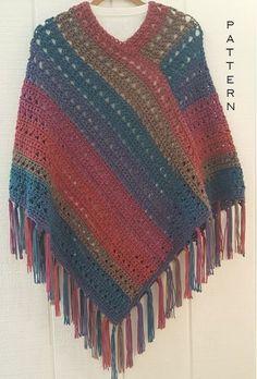 Crochet Poncho PATTERN - Fall Fringe Poncho - Poncho with Fringe Pattern - Yarn Cake Poncho Pattern - Easy Crochet Poncho Poncho Au Crochet, Pull Crochet, Crochet Poncho Patterns, Crochet Scarves, Crochet Yarn, Crochet Clothes, Free Crochet, Crochet Simple, Yarn Cake