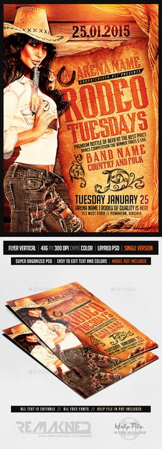 Rodeo Tuesdays | Flyer Template PSD — Photoshop PSD #boots #rodeo night • Available here → https://graphicriver.net/item/rodeo-tuesdays-flyer-template-psd/9667419?ref=pxcr