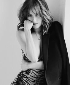 ... Photographed in black and white, Dakota Johnson