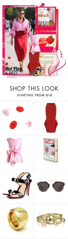 """""""Hot Pink & Red"""" by wodecai ❤ liked on Polyvore featuring STELLA McCARTNEY, Yanny London, Olympia Le-Tan, Christian Louboutin, Christian Dior, Bling Jewelry and Fendi"""