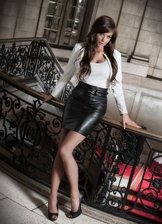Black Leather Pencil Skirt White Top White Leather Jacket Sheer Black Pantyhose and Black High Heels