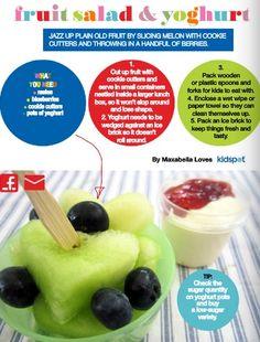 fruit salad and yoghurt - pg 18 of the Kidspot lunchbox flipbook