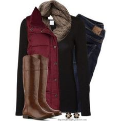 Red Vest, Taupe knit scarf & Riding boots