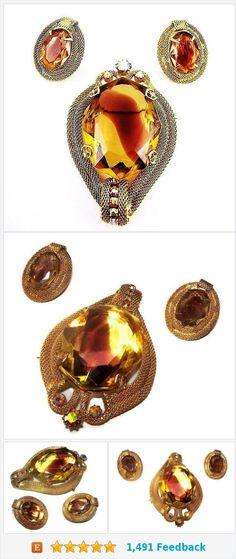 Juliana D&E Brooch Earring Set Yellow Topaz Rose Art Glass Rhinestones Gold Mesh Vintage https://www.etsy.com/BrightgemsTreasures/listing/582323335/juliana-de-brooch-earring-set-yellow?ref=listing-shop-header-3