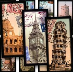 Original mini collages made from high quality scans from my personal collection of postcards, stamps, text and other vintage ephemera. Images from Italy, Holland, England, Egypt and France. #Printables 847 by piddix.
