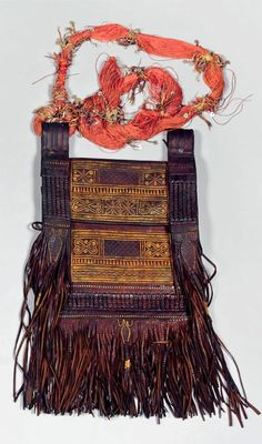 Africa | Large old bag from the Tuareg people | Leather with a silk cord, decorated with small leather discs