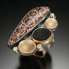 Petrified Coral Ring by Beth Solomon. Sterling silver, 18 and 22k gold, diamonds, druzy quartz, petrified coral http://www.taboostudio.com/artist_dtl.asp?artist=Beth+Solomon