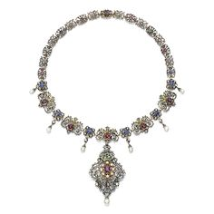Necklace Designed As A Series Of Open Work Foliate Links Set With Faceted Sapphires, Emeralds And Rubies, Highlighted With Circular And Rose-Cut Diamonds, Suspending At Intervals Are Pearl Drops, To A Similarly Set Brooch/Pendant    c.1880's   -   Sotheby's