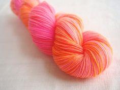 Daylily++Pink+&+Orange+Merino+Sock+Yarn+Hand+by+OneHandmadeLife,+$24.00